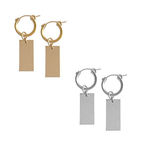 Hoop and Tag Charm Earrings in Gold and Silver Colors