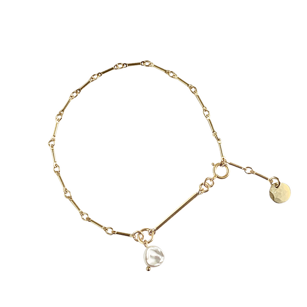 Laya Pearl and Bar Chain Bracelet in Gold Colors