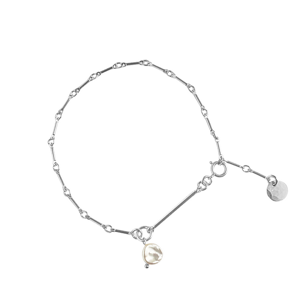 Laya Pearl and Bar Chain Bracelet in Silver Colors