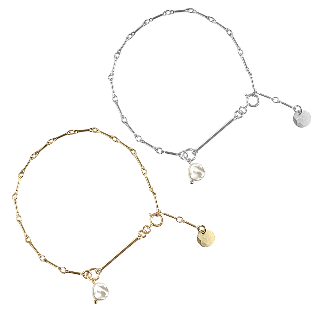 Laya Pearl and Bar Chain Bracelet in Gold, Silver Colors