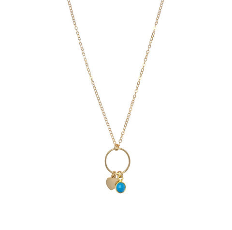 The Leni Ring with Mini Heart and Turquoise Necklace-