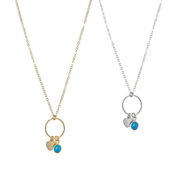 The Leni- Ring with mini heart and turquoise necklace - Gold, Silver >>