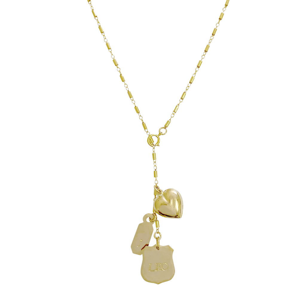 Leon Crest Lariat Necklace - Gold, Silver >>