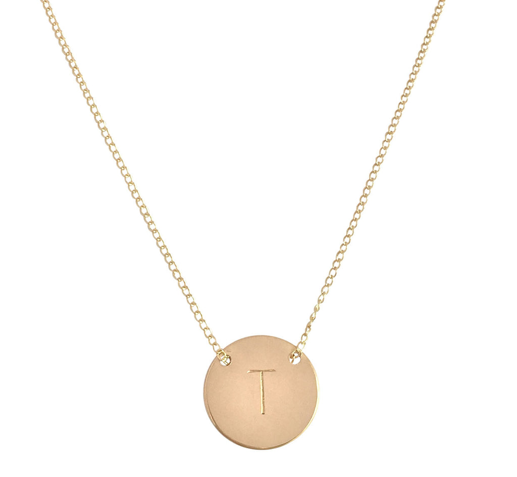Gold Disc Initial Necklace Australia