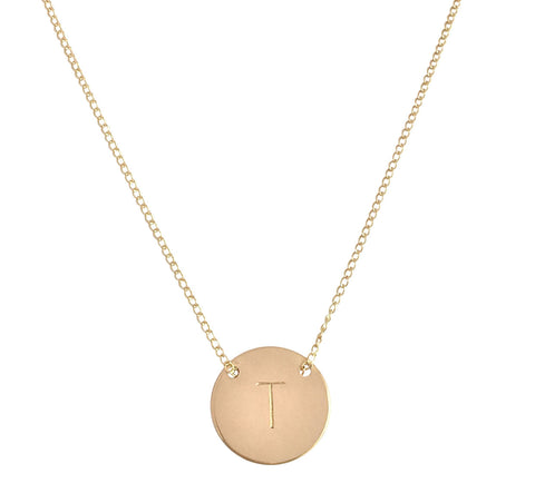 "The Livia - Fine Chain through Large disc necklace 18"" - Gold, Silver >>"