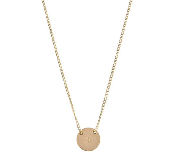 "The Livia - Fine Chain Through Mini Disc Necklace 18"" - Gold, Silver >>"