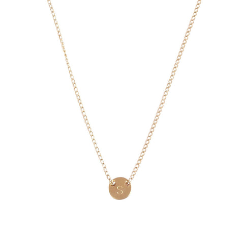 The Livia Fine Chain Through Tiny Disc Gold Necklace 18""