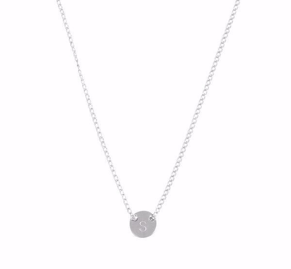 "The Livia - Fine Chain Through Tiny Disc Necklace 18"" - Gold, Silver >>"