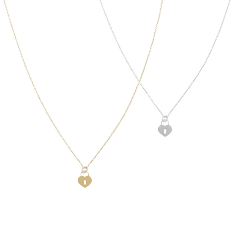 Locket Heart Necklace - Gold, Silver >>