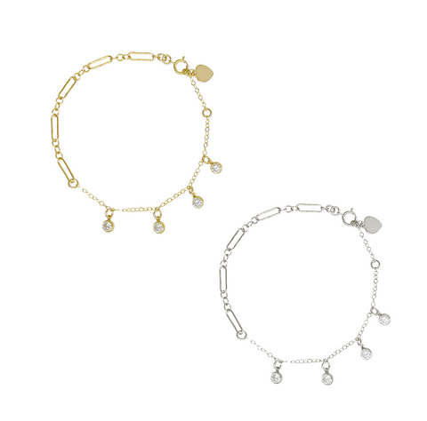 Lola Crystal Drop Bracelet - Gold, Silver >>