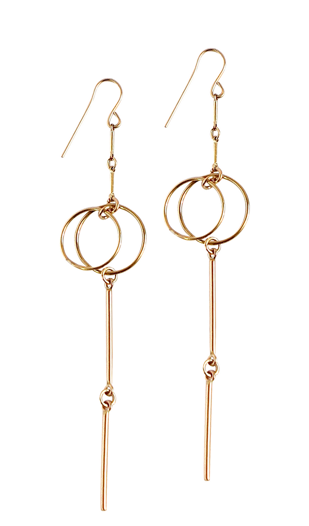 Double Ring Multi Bar Long Earring - Gold, Silver >>