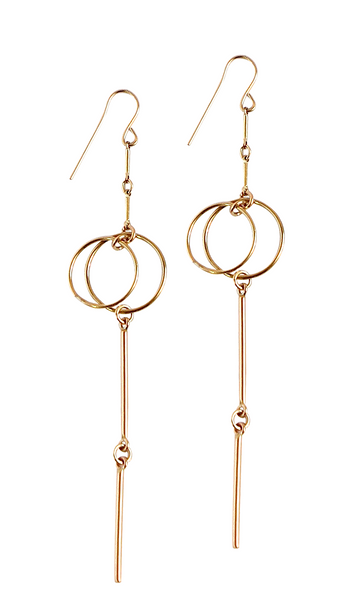 Double Ring Multi Bar Long Earring in Gold, Silver
