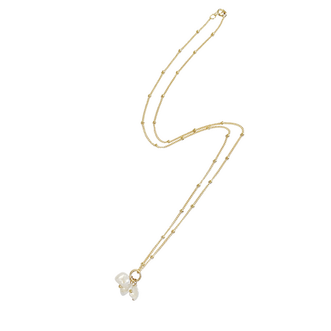Lori Triple Pearl Bead Chain Necklace - Gold, Silver, Rose Gold >>