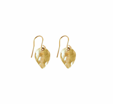 Lily Lotus Petal Earring Hammered in Gold, Silver