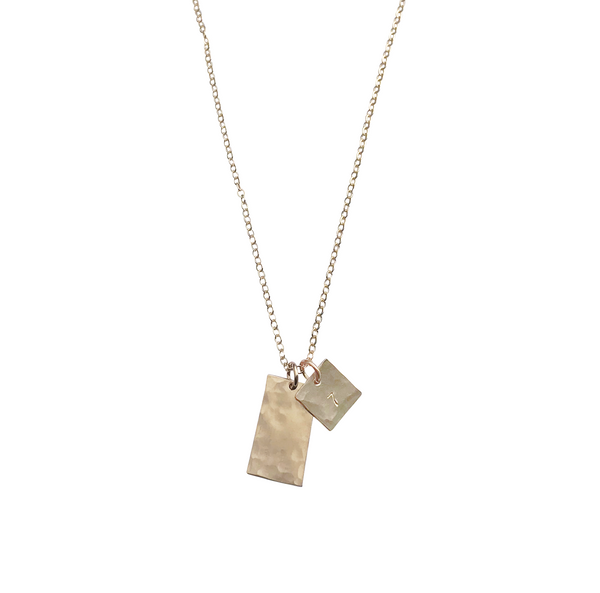 The Louis - Medium Tag Necklace - Gold, Silver >>