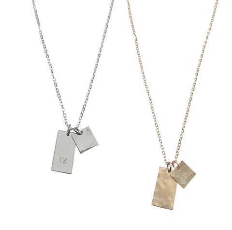 The Louis Medium Tag Necklace in Gold, Silver