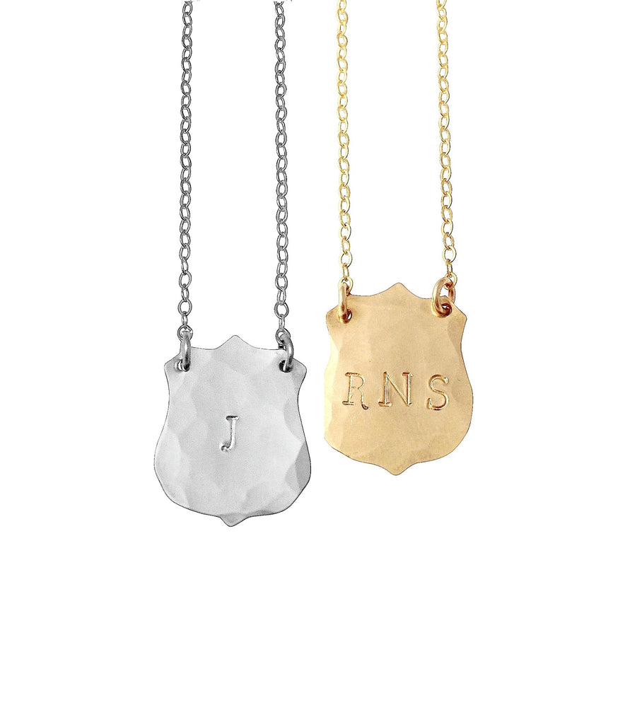 The Luca - Initial Crest Necklace - Gold, Silver, Rose Gold >>