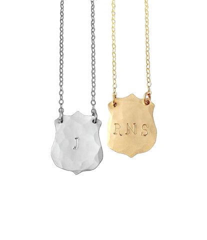 The Luca Initial Crest Necklace in Gold, Silver