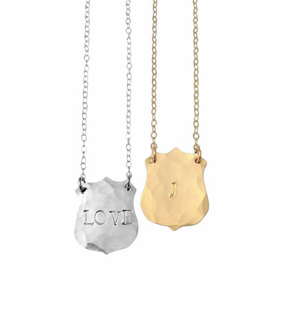 The Luca Initial Crest Necklace in Gold, Silver-