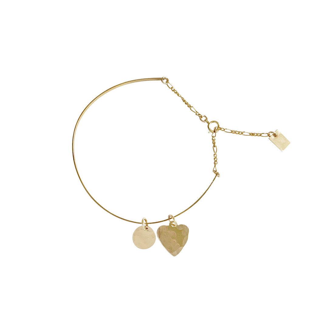 Lucy Cuff with Heart - Gold, Silver >>