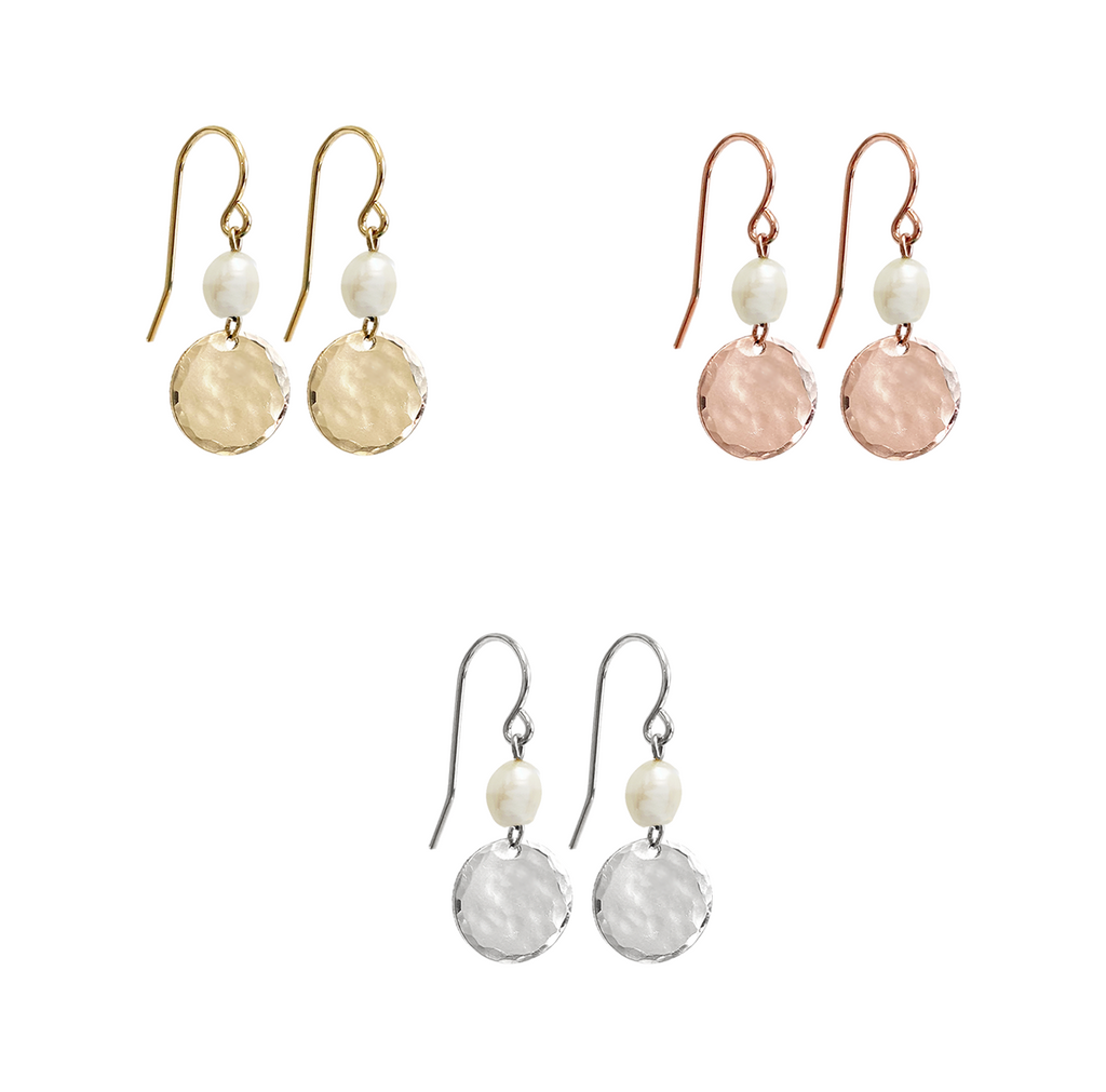 Luna Pearl Earring- Gold, Silver, Rose Gold >>