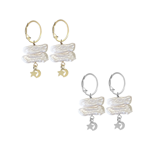 Pearl and Charm on Ring Earring in Gold, Silver Colors