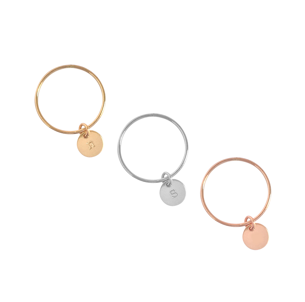 Mini Disc Initial Ring in Gold or Silver Rose Gold Colors