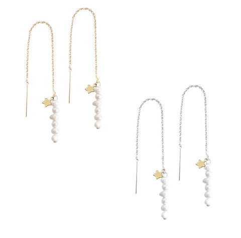 The Macy - Keshi Pearl Thread earring - Gold, Silver >>