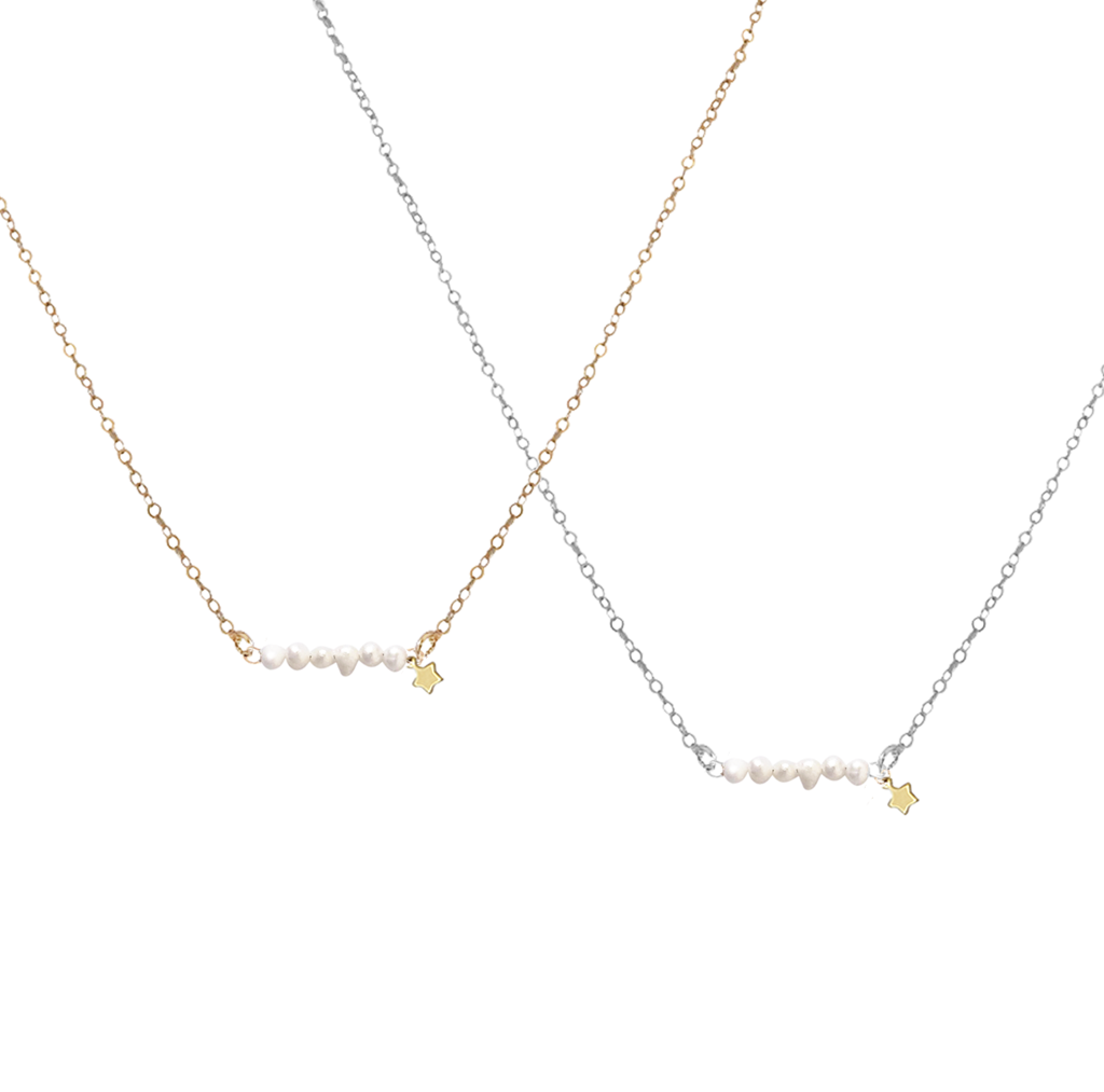 The Macy Necklace Keshi Pearl and Star Necklace