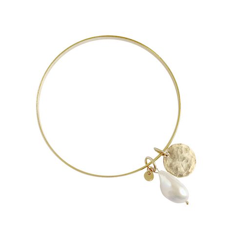Manni Bangle with Baroque Pearl and Disc - Gold, Silver, Rose Gold >>