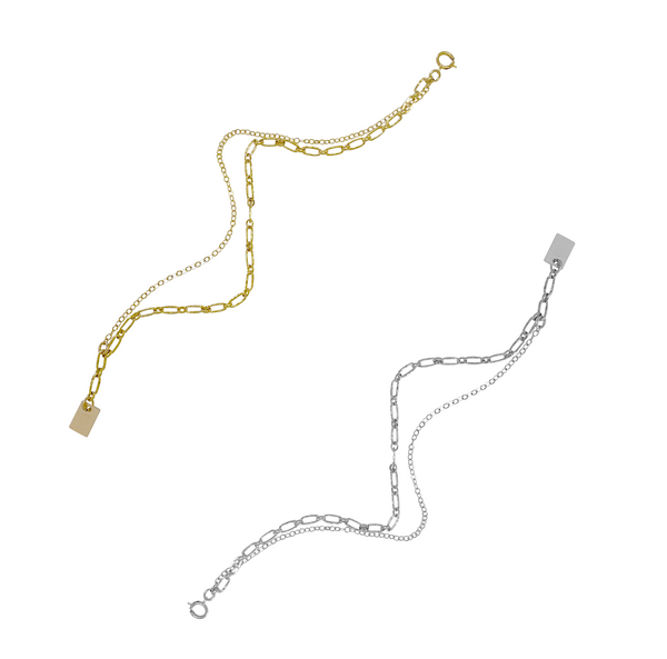 Maple Double Chain Bracelet - Gold, Silver >>