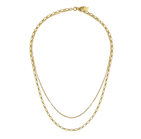Maple Necklace - Double Chain -  Gold, Silver >>