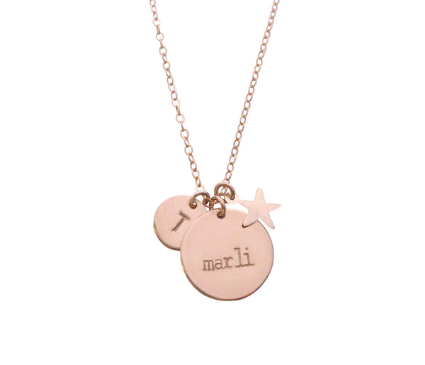 The Marli Necklace- Double Disc and Star Charm - Gold, Silver, Rose >>