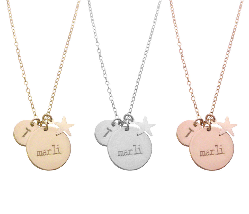 The Marli Necklace Double Disc and Star Charm Gold