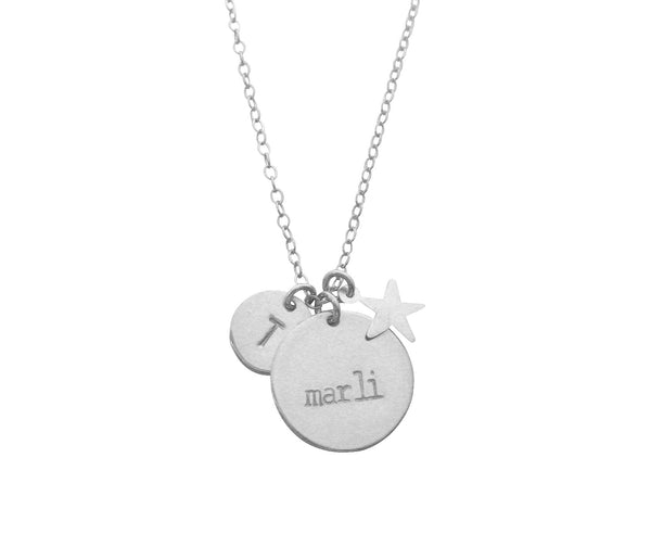 The Marli Necklace Double Disc and Star Charm Silver