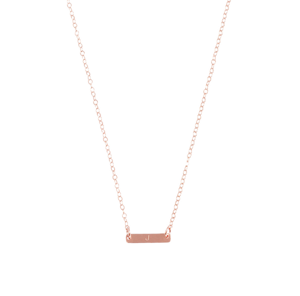 "The Maya Mini Bar Initial Necklace 18/20"" Gold, Silver-"