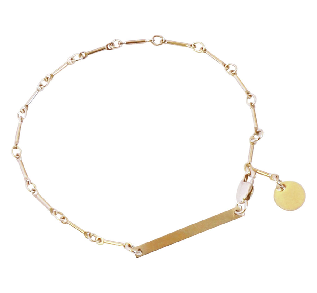 The Mena - Bar Chain Bracelet with Bar and Disc - Gold, Silver >>