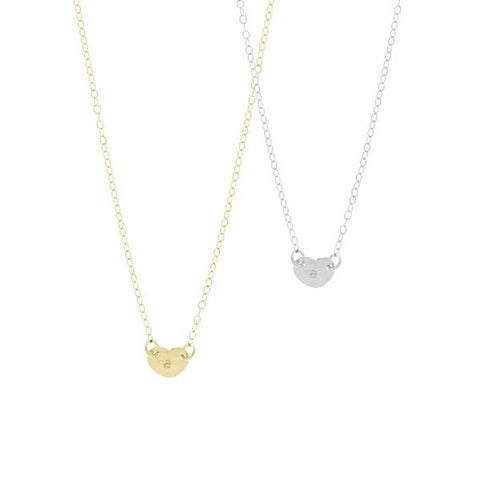 The Mia Tiny Heart Initial Necklace in Gold, Silver