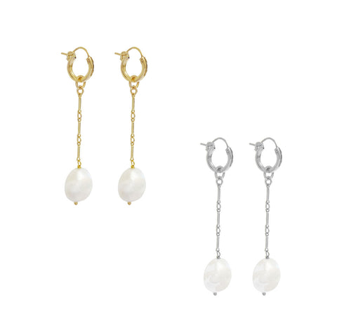 Paris Hoop Pearl Drop - Gold, Silver >>