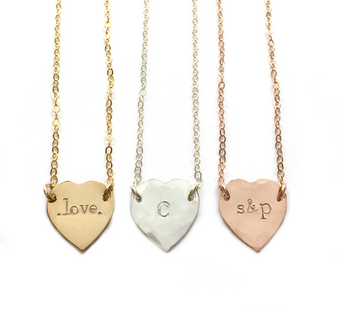 The Mimi - Heart Initial Necklace- Gold, Silver, Rose Gold >>