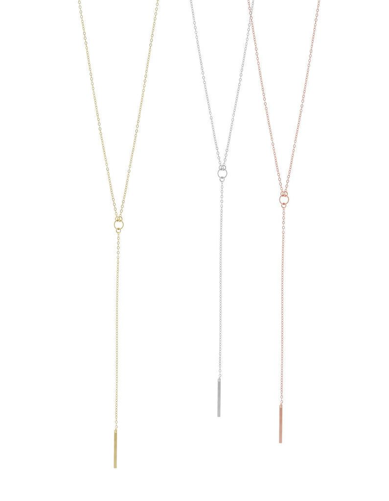 Mini Bar Lariat Necklace- Gold, Silver >>