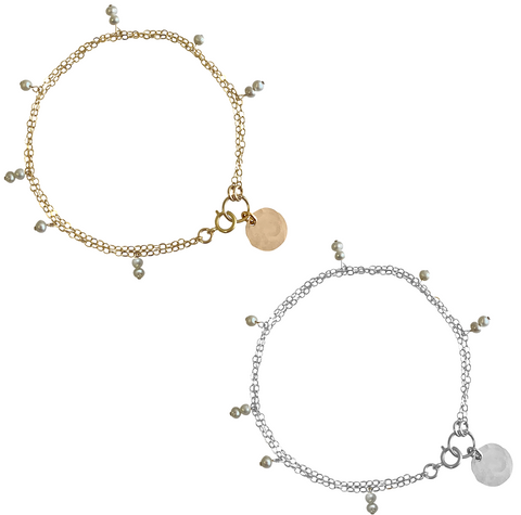 Mini Keshi Pearl Bracelet in Gold or Silver Rose Gold Colors