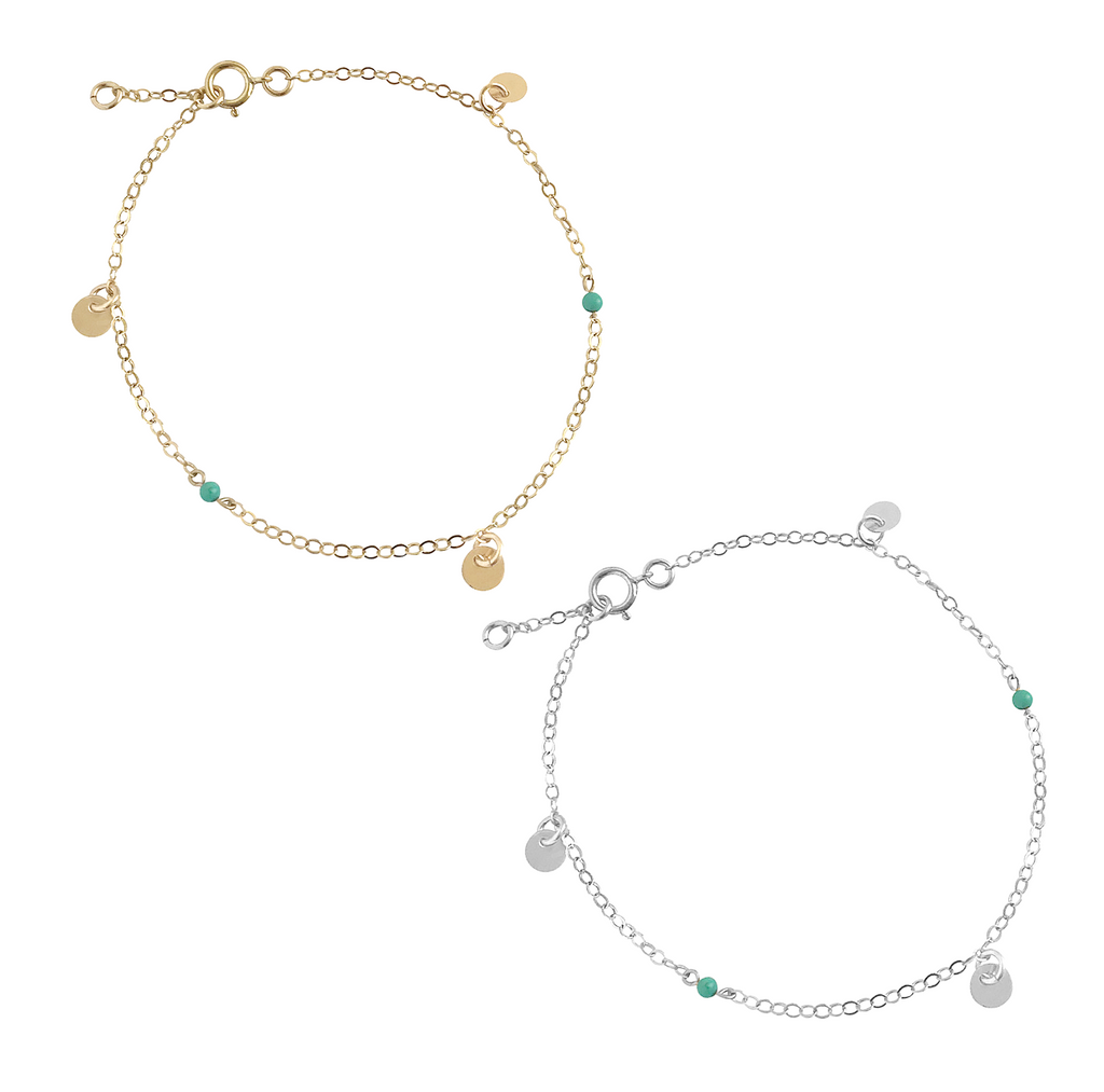 Mini Turquoise and Disc Bracelet in Gold or Silver Rose Colors