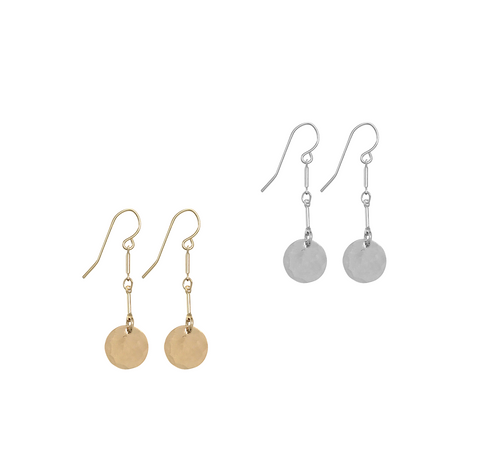Hammered Mini Disc Earrings on double bar - Gold, Silver >>