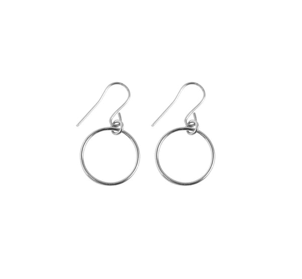Mini Ring Earrings in Silver Color