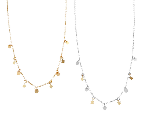 The Nevada - Mini Multi Star and Disc Necklace - Gold, Silver >>