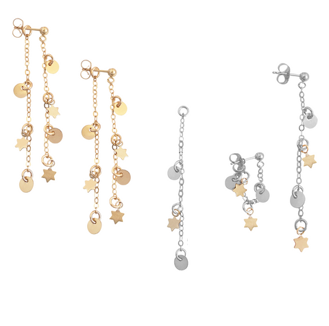 The Nevada Convertible Charm Earring in Gold, Silver