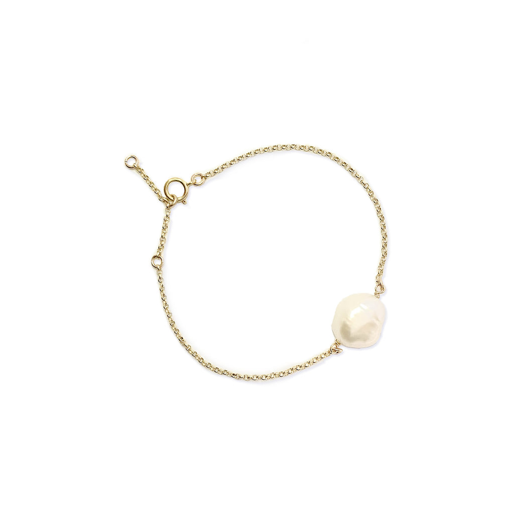Emmy Baroque Pearl and Disc adjustable Bracelet - Gold, Silver >>