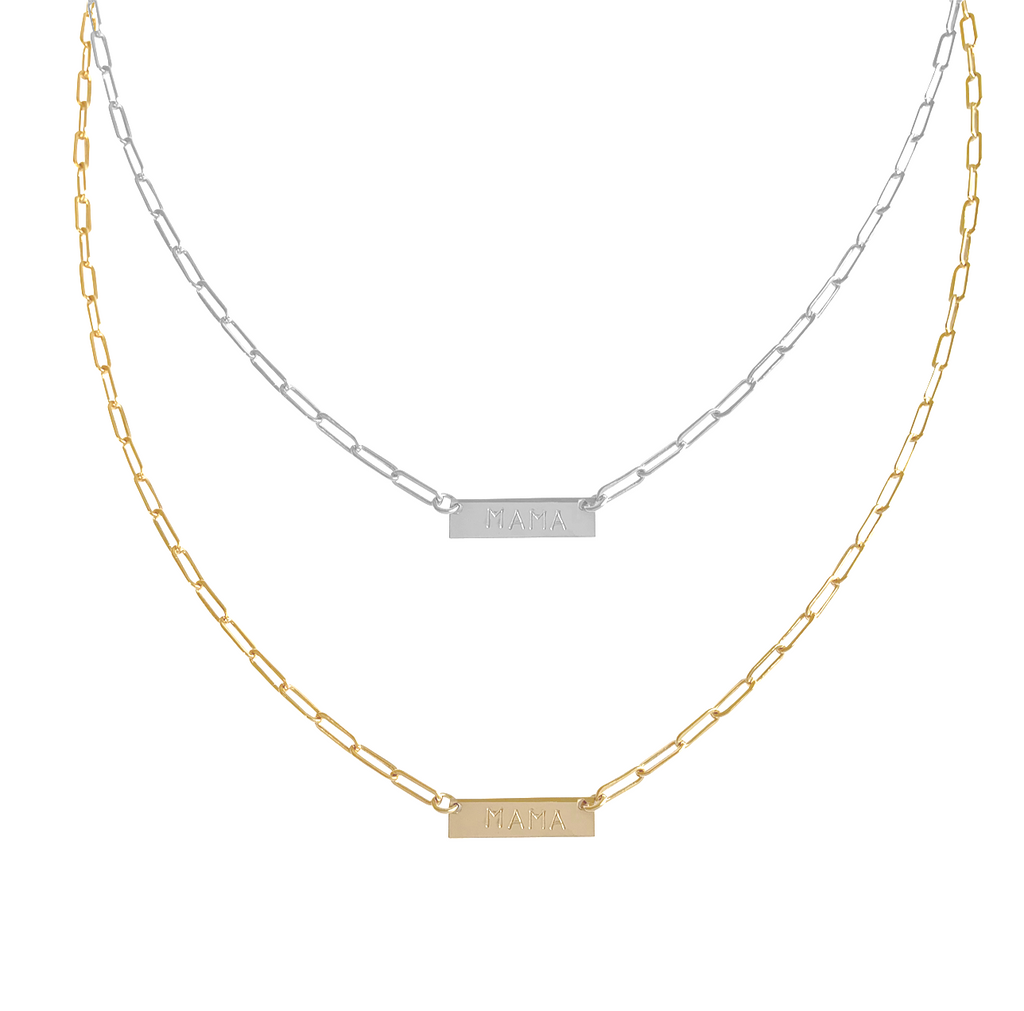 The Nina I.D. BAR Necklace in Gold, Silver
