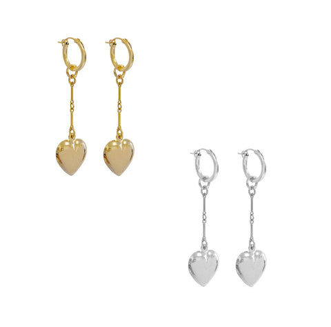 Paris Long Heart Earring - Gold, Silver >>